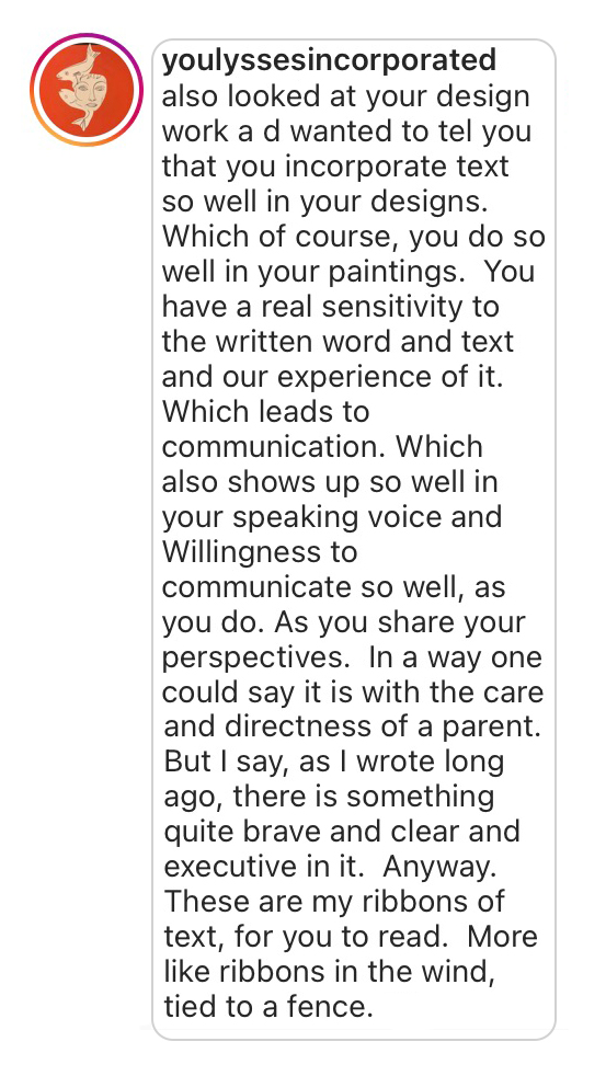 Comment: You have a ral sensitivity to the written word and text and our experience of it...