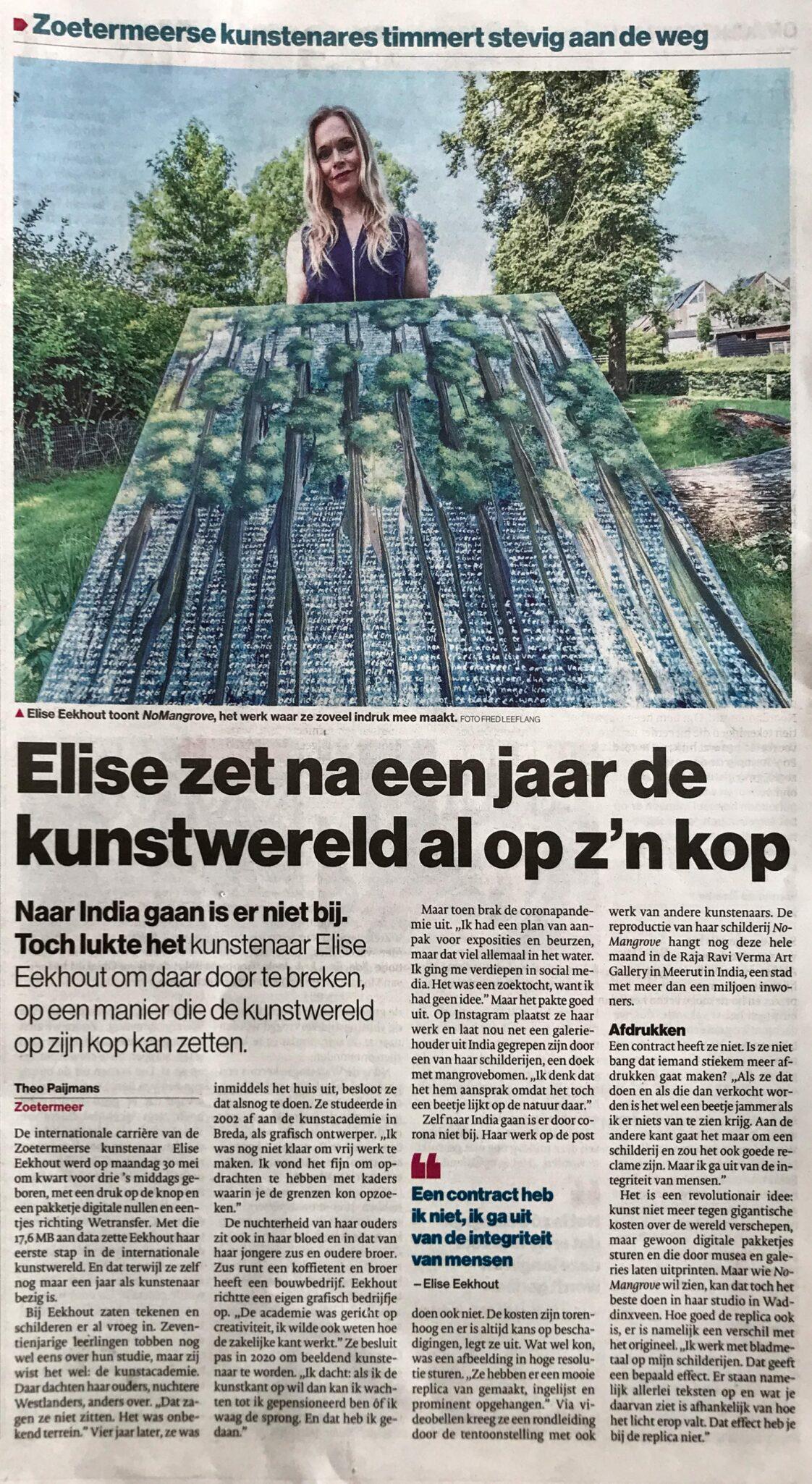 Elise Eekhout | Message in local newspaper