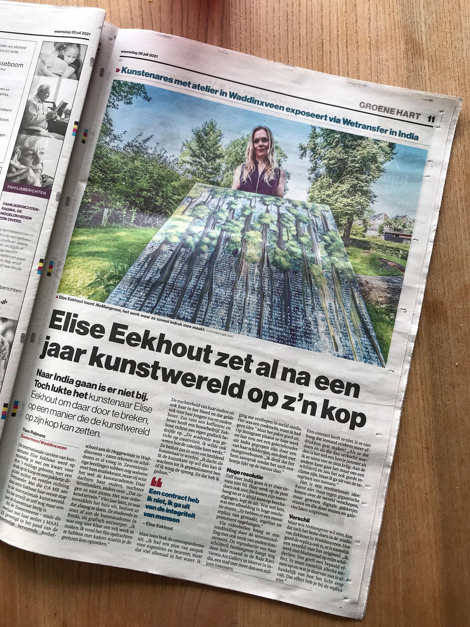 Elise Eekhout   Message in local newspaper